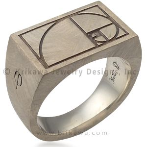 Fibonacci Signet Ring - This signet ring is perfect for those who appreciate mathematics. A spiral representing the Fibonacci Golden Ratio is etched into the flat surface on top of the ring. The sides have numbers and a Greek letter.