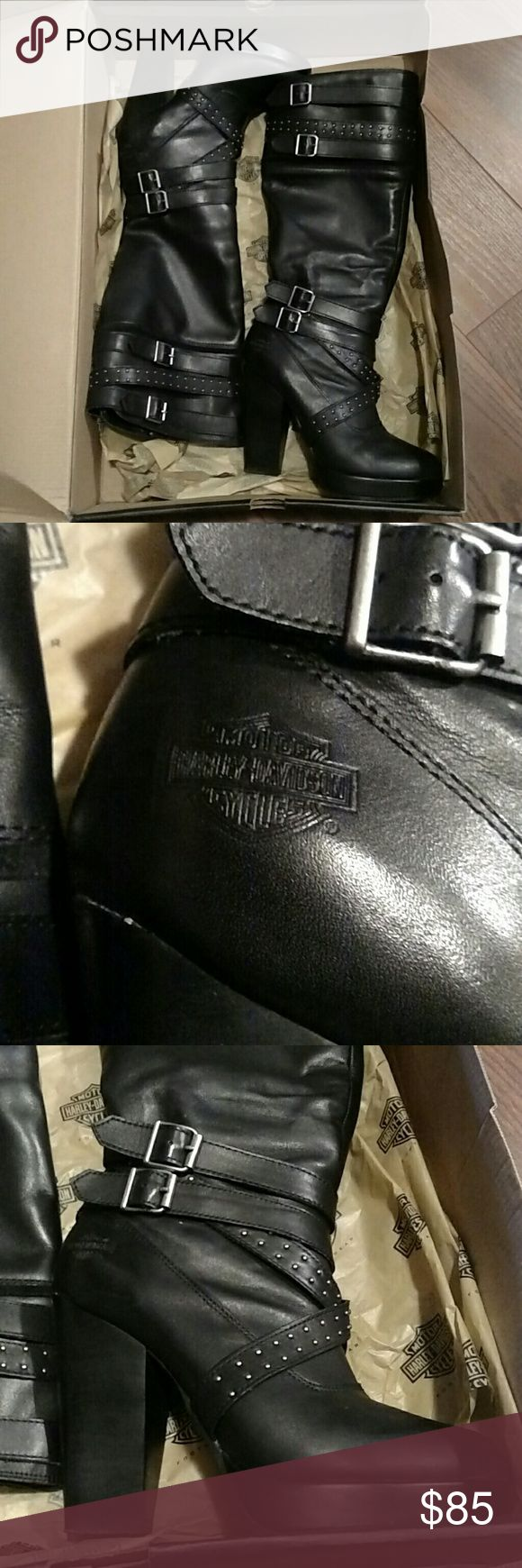 Harley Davidson Karlia knee high boots 8.5 Harley Davidson women's knee high boots Style: Karlia Black Leather Zip up side Excellent used condition, worn once 8.5 Silver studs Harley-Davidson Shoes Heeled Boots