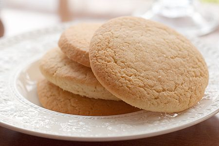 Old Fashioned Southern Tea Cakes  2 sticks butter, softened  2 cups sugar  3 eggs, room temperature  2 tblsp. buttermilk  5 cups all-purpose flour  1 tsp. baking soda  1 tsp. vanilla  Additional sugar for sprinkling