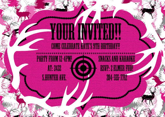 Pink Camo Birthday Party Invitation JPEG 300 by DecorAtYourDoor, $10.00