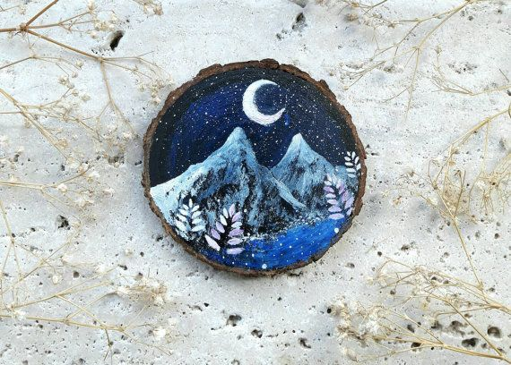 Wonderful painting representing mountains landscape in the night realized on a slice of natural recycled wood   #mountains #painting #wood #art