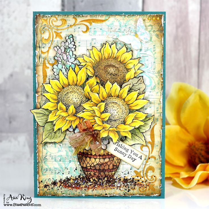 #cre8time sunflowers card with Stampendous and Inktense pencils.