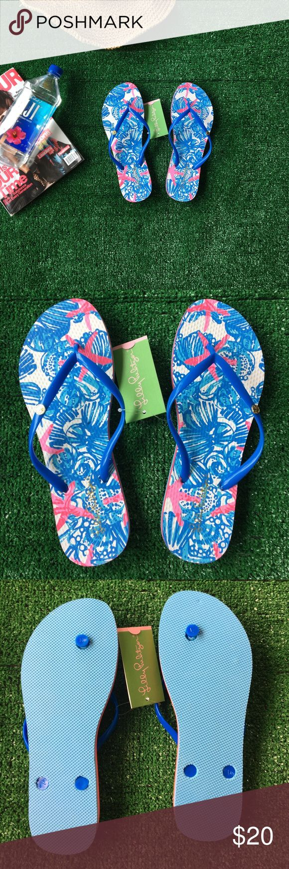 Lilly Pulitzer Pool Flip Flops Lilly Pulitzer Pool Flip Flops Bay Blue She She Shells Print size 9/10 new Lilly Pulitzer Shoes Sandals
