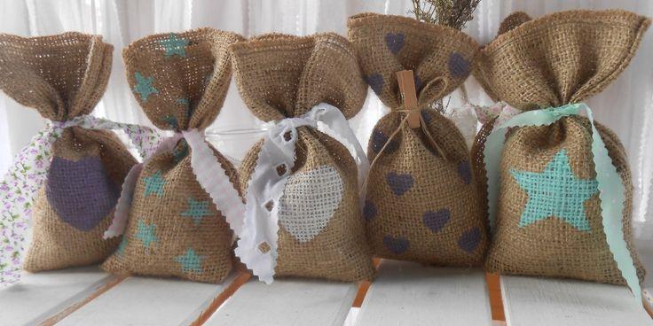 Bolsita arpillera souvenirs vintage 15 anos casamientos - Manualidades con tela de saco ...