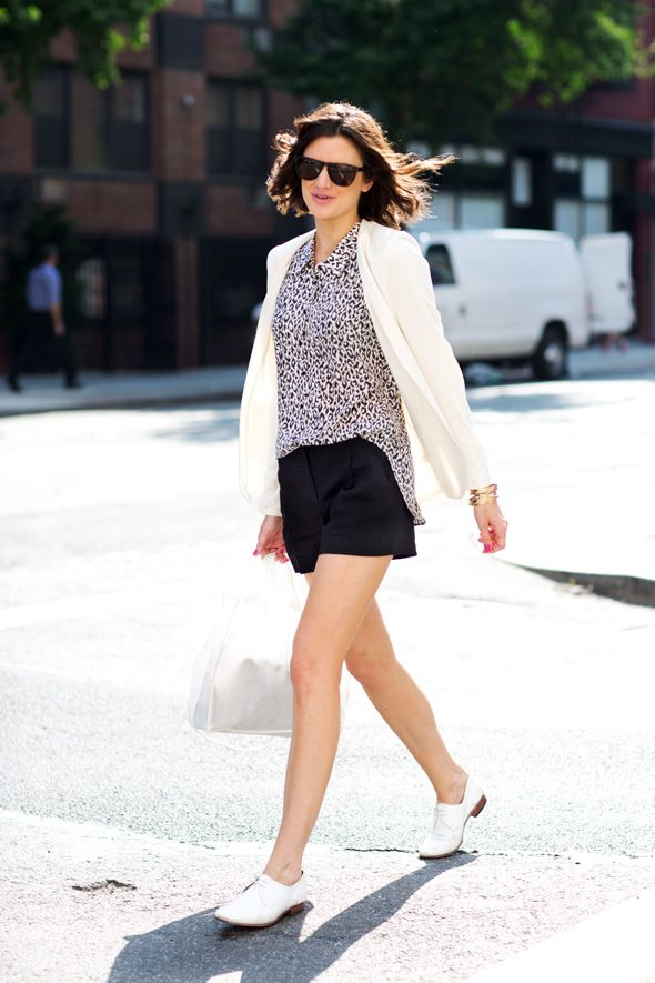So classy. Black and white solids with a printed shirt to keep it from getting boring. Want those shoes.
