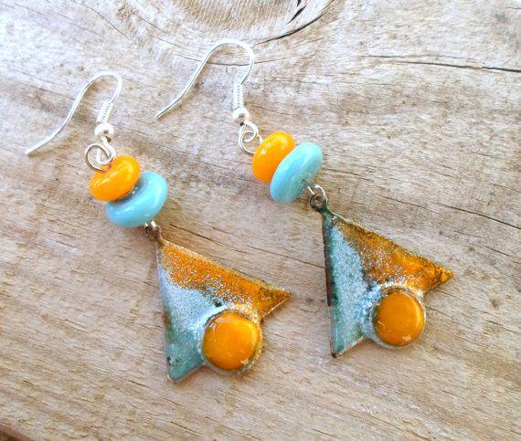Enameled Earrings Lampwork Earrings Fashion Jewelry by CandanImrak