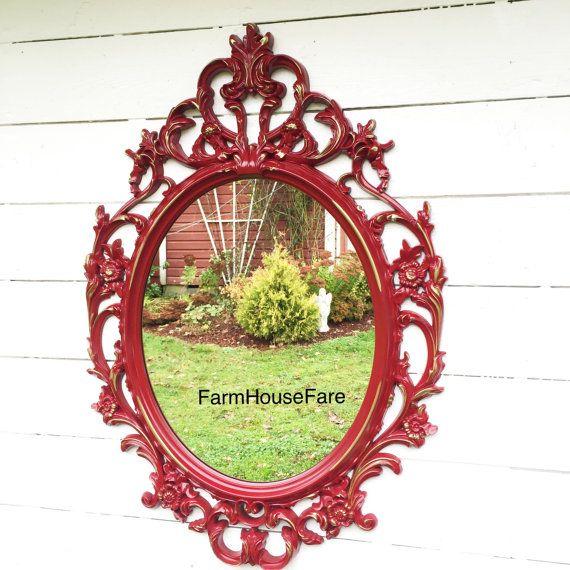 Large Baroque Mirror Bathroom Mirror Red Ornate Mirror