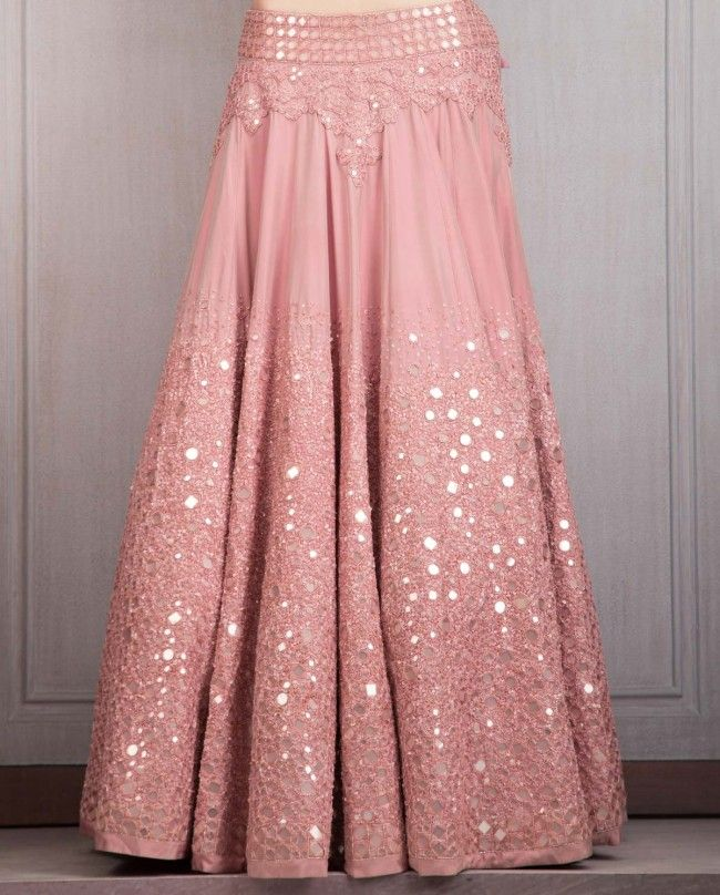 Old Rose Lengha Set with Mirror Work - Lehenghas - Couture - Shop Women