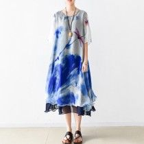 blue print summer maxi dress oversize chiffon sundress casual short sleeve holiday dresses
