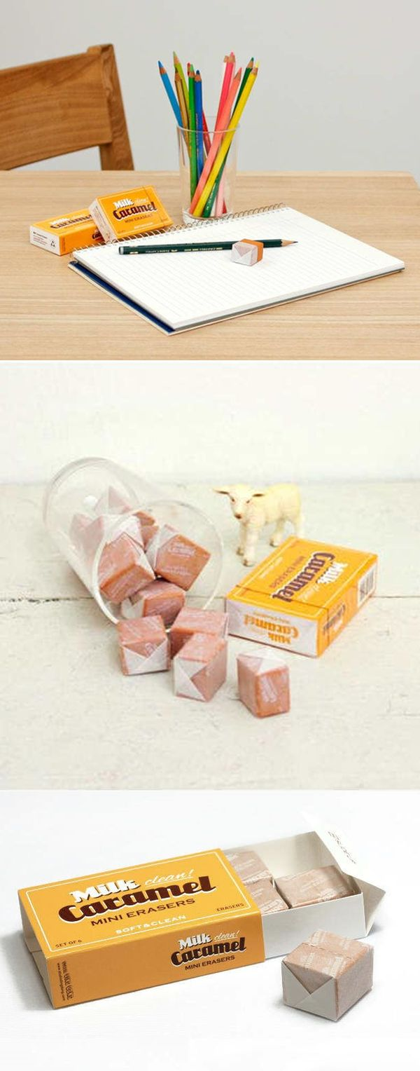 Be careful not to eat these cute little erasers, as they resemble real milk caramels! They are cute and unique and is also functional that erases well. It will be a memorable gift for your friends, family and for yourself