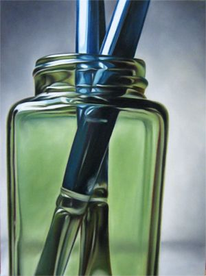 Bluebrush Abstract Artists Painting Photorealistic by Todd Ford