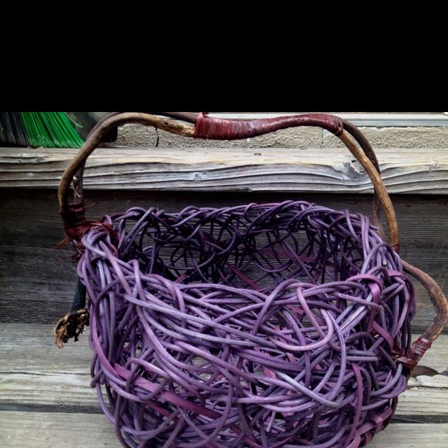 Purple dyed reed. Random weave with seaweed handle