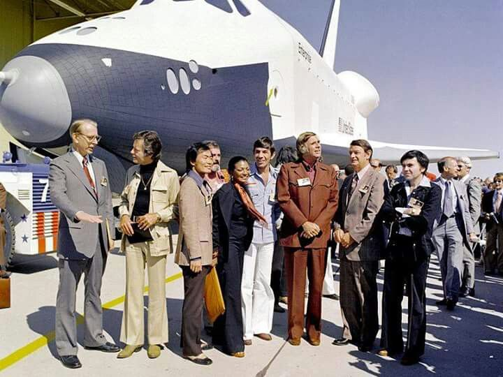Prototype space shuttle Enterprise named after the fictional starship with Star Trek television cast members and creator Gene Roddenberry.