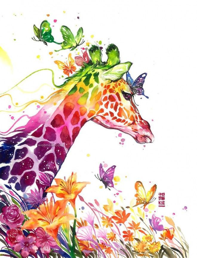 giraffe watercolor painting by luqmanreza