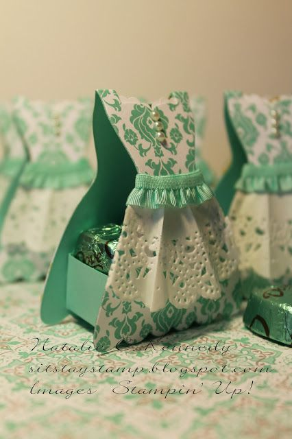 Dress Treat Box - different colors and paper pattern