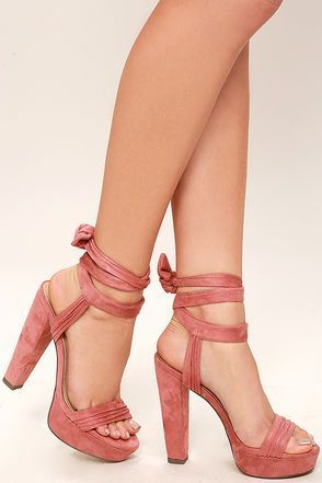"The Corrine Dusty Pink Suede Lace-Up Platform Heels were made to party! The softest vegan suede is a dream over a ribbed toe band (with 1.25"" toe platform), and quarter strap with long tying laces."