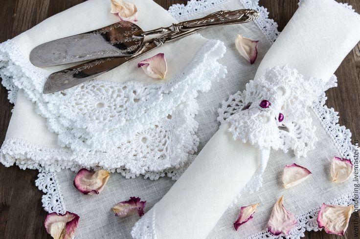 Купить Комплект для сервировки стола - белый, салфетки, сервировка стола, сервировка, Вязание крючком