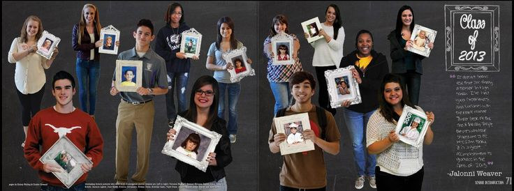 Senior yearbook intro page. A few grads who have been in the district since kindergarten. Photographed them with a green book then replaced it with a frame and the photo they sent in. Timber Creek HS, Fort Worth, Texas.