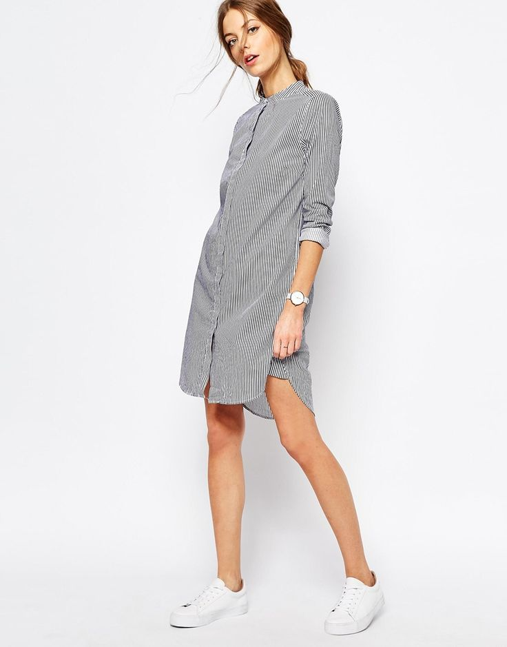 Image 4 of Selected - Livi - shirt dress with pinstripes