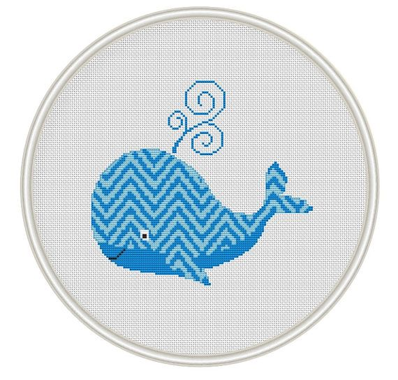 Cute Blue Whale Сross stitch pattern  PDF / JPEG Instant