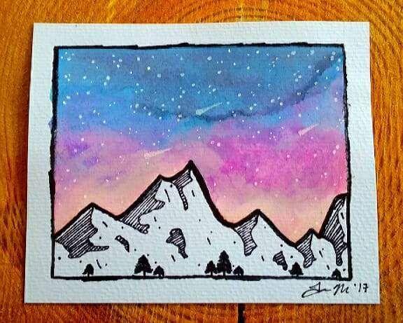 Mountain Art Watercolor Art Contemporary Watercolour Art