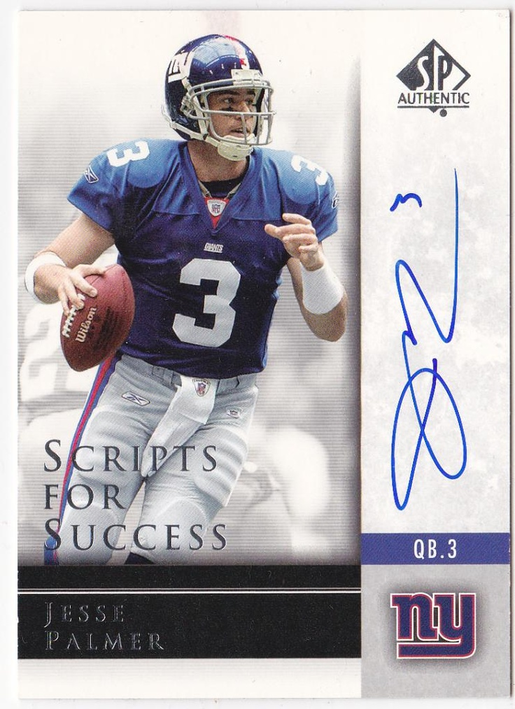 Signed Jesse Palmer New York giants trading card