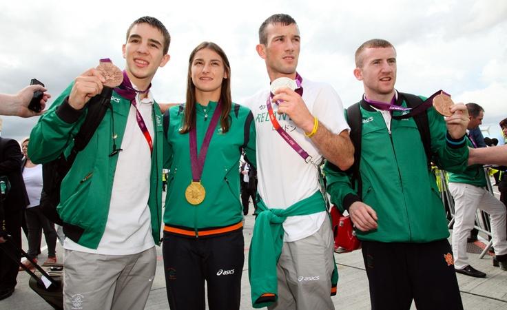 Medal winning Olympic boxers Michael Conlan, Katie Taylor, John Joe Nevin and Paddy Barnes at Dublin Airport #TeamIreland #Olympics #London2012 #Ireland #Dublin