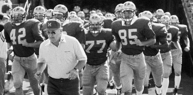 U of M head coach, Bo Schembechler leads the team out of the tunnel for picture day, August 1985. .......................| freep.com | Detroit Michigan Wolverines | Detroit Free Press