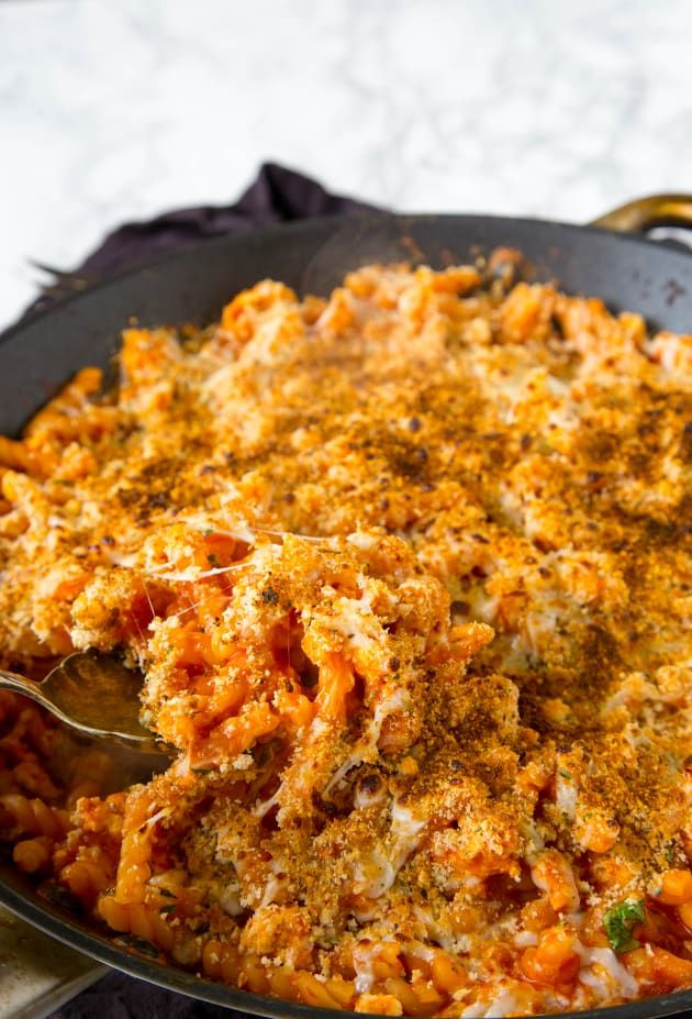 Chicken Parmesan Pasta Skillet is topped with cheese and crunchy bread crumbs. Outstanding!
