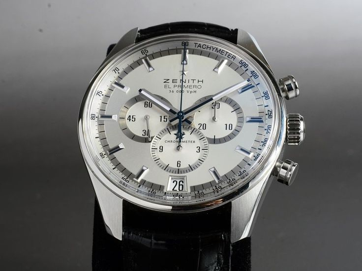 Zenith - 36,000 VPH el primero Chronometer ChronographReference: 03.2040.400 / 01.C496Mechanism: AutomatikCase: SteelStrap: crocodile leatherVery Good Condition (1)Year: 4/2011with box and documentsDiameter: 42 mmGlass: Sapphire12 months warrantyChronograph, Date, TachymeterDisplay Back, Small Seconds, Blue Steel Hands, Chronometer, Quick Set