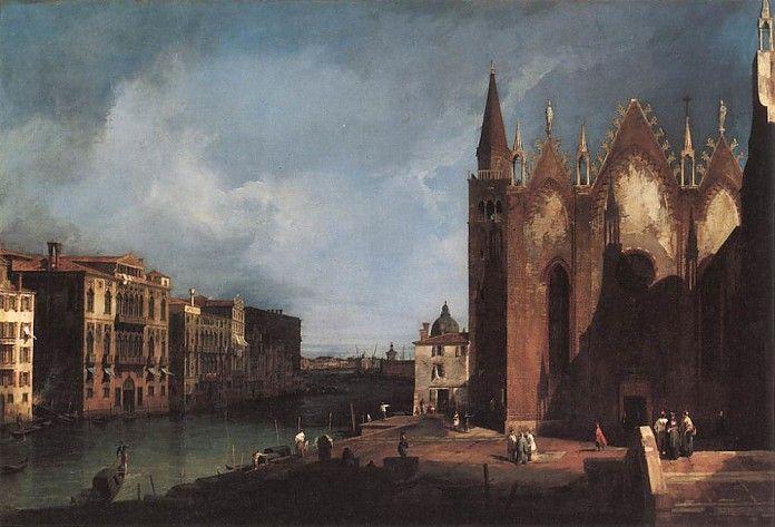 Canaletto, Het Canal Grande ter hoogte van de San Maria della Carità, 1726, o-d, 131.5 x 90 cm, privécollectie