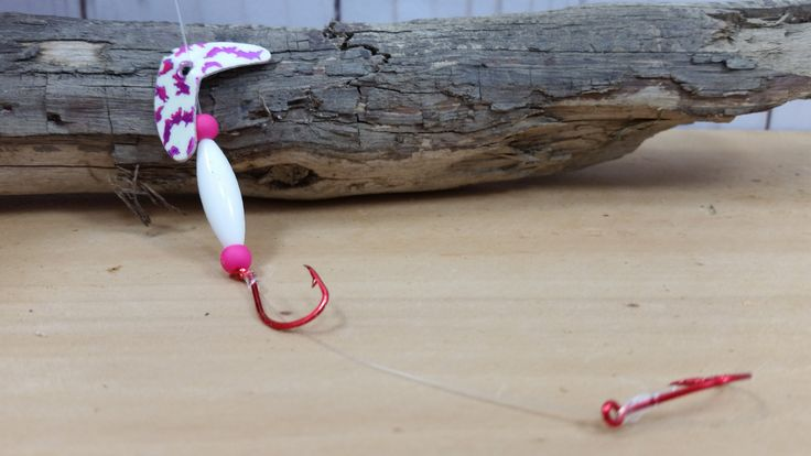 Fishing Tackle - Double Hook Hot Pink and White Trolling Worm Harness - Walleye Fishing Lure - Handmade in Oregon - Made in USA by CrankandSpinTackle on Etsy