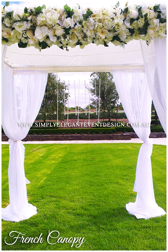 Add true romance to your wedding ceremony with our French Canopy that's perfect for ceremonies #simplyelegantweddingsadelaide