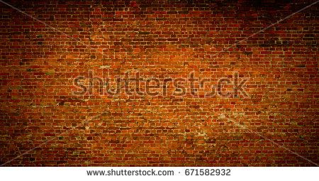 Brick wall of red orange color background. Vintage old masonry.