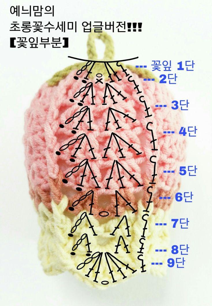 초롱꽃수세미 업그레이드!!! <VERSION 2> 이번 업글버전은 뜨기 더 쉽고!!! 실도 작게들며!!!...