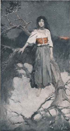 "Howard Pyle.  ""Mellicent Stood Motionless, Like a Wild Thing at Gaze,"" from ""Mellicent,"" January 1905."