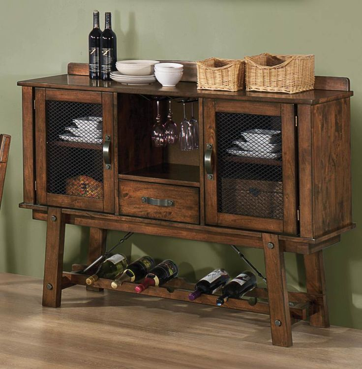 Coaster Lawson Dining Server W Wine Rack 103995
