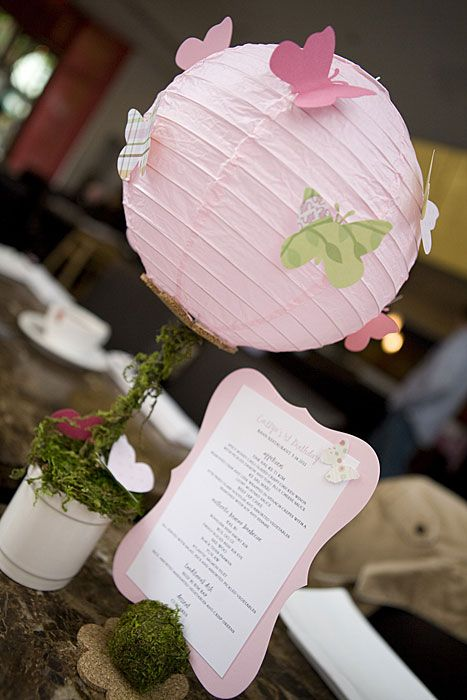 table centerpieces, paper lanterns and flowers | Paper Lantern Centerpiece for Caitlyn's 1'st Butterfly Birthday by ...