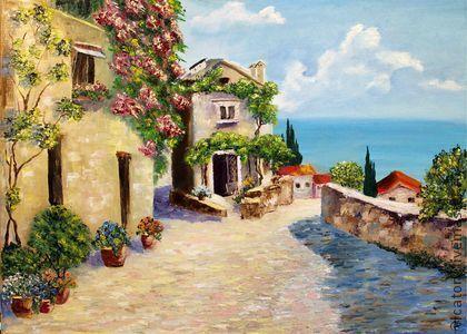 Картина 'Солнце, море и цветы'   The sun, the sea and the flowers. by Victoria Sokolova oil, canvas, 50*70, 2012
