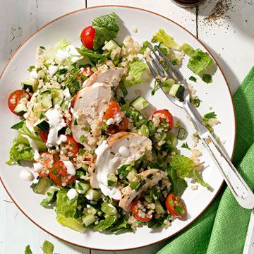 Grilled Chicken Tabbouleh Salad with Spiced Yogurt Dressing - FamilyCircle.com