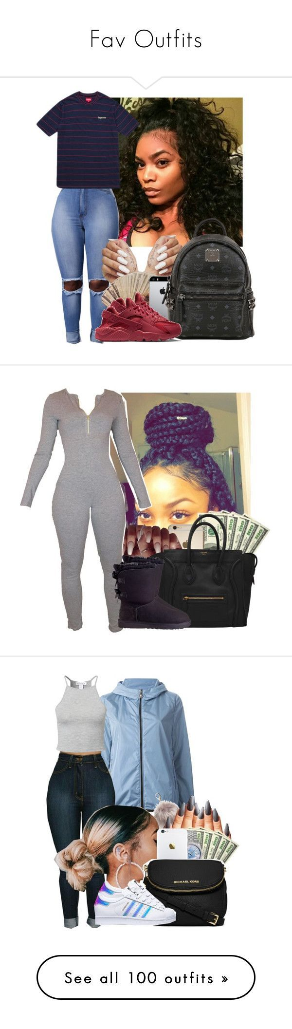Fav Outfits by jawnnextdoor ❤ liked on Polyvore featuring MCM, NIKE, UGG Australia, Moncler, Nila Anthony, Estradeur, Rolex, MICHAEL Michael Kors, adidas and Victorias Secret