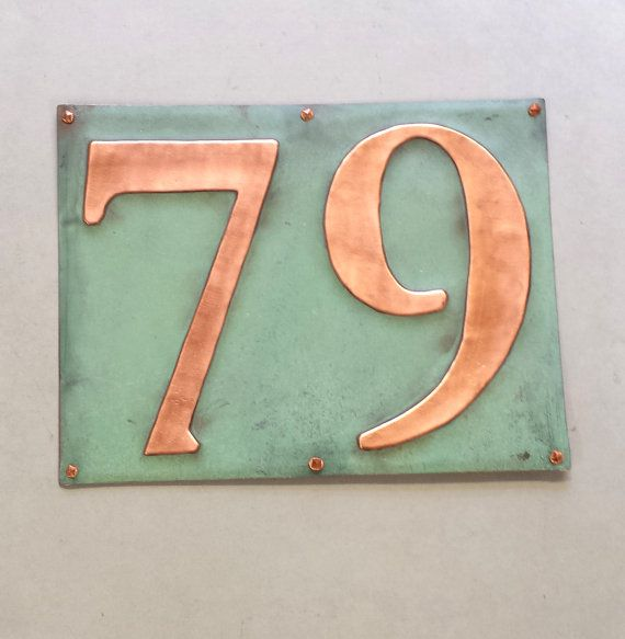 "Large Outdoor Copper Number Address Plaque  2 numbers x 6""/150mm high, worldwide tracked delivery, unique on the web"