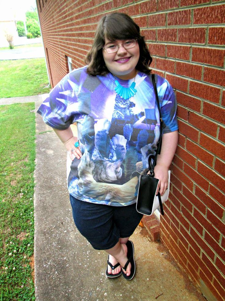 Unique Geek: Plus Size OOTD: Cat Party #catshirt #plussizefashionblogger #plussizeoutfit