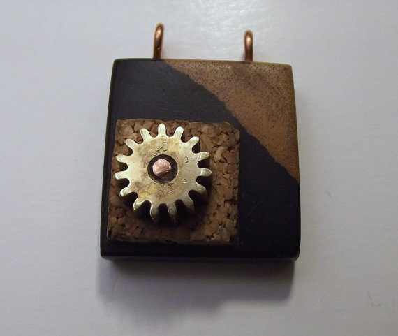 Upcycled two toned black wood pendant with cork by TANGORADESIGNS, $60.00: Wood Pendants, Black Wood