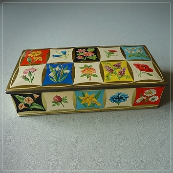 Bluebird rectangular confectionery tin, alpine flowers. Lovely idea for an embroidered patchwork!