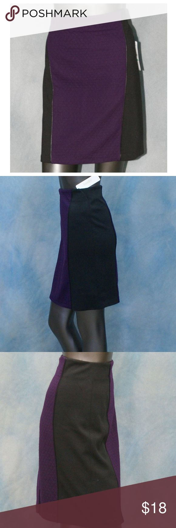 NEW Laundry Blackberry 2 Tone Quilted Pencil Skirt NEW WITH TAGS  Laundry BY Shelli Segal Blackberry Two Tone Quilt Stitch Pattern Skirt NWT   Size 2  Purple and Black  Style number: N5F23S29 TJ 551  So soft. Hits right at the knee. Great for work or to dress up. Color blocking gives a slenderizing look. Adorable quilted center panels add interesting texture. Exposed zipper closure, leatherette piping. 14 inches across at waist and 20 inches in length. All measurements taken while laying…
