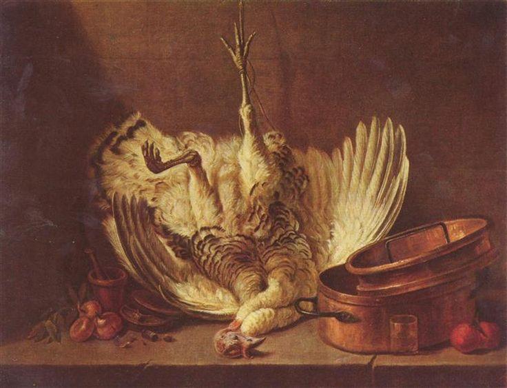 Natura morta con tacchino impiccato; Jean-Baptiste-Simeon Chardin; olio su tela; natura morta; Magyar Szepmuveszeti Muzeum, Budapest, Ungheria.