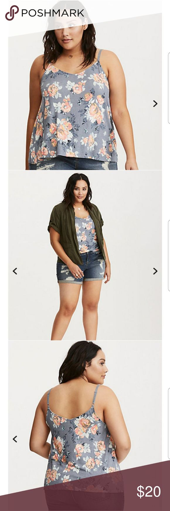 Floral Print Crochet Trim Cami Top Drought? What drought? There's no such thing with this cami top. Toned-down hacci knit blooms with a vintage-inspired, multi-color floral print that's flirty and feminine. Finished with crochet straps that are boho beautiful. torrid Tops