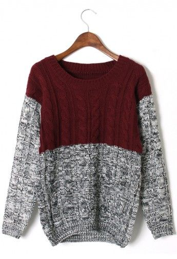 Color Block Cable Knit Sweater in Red