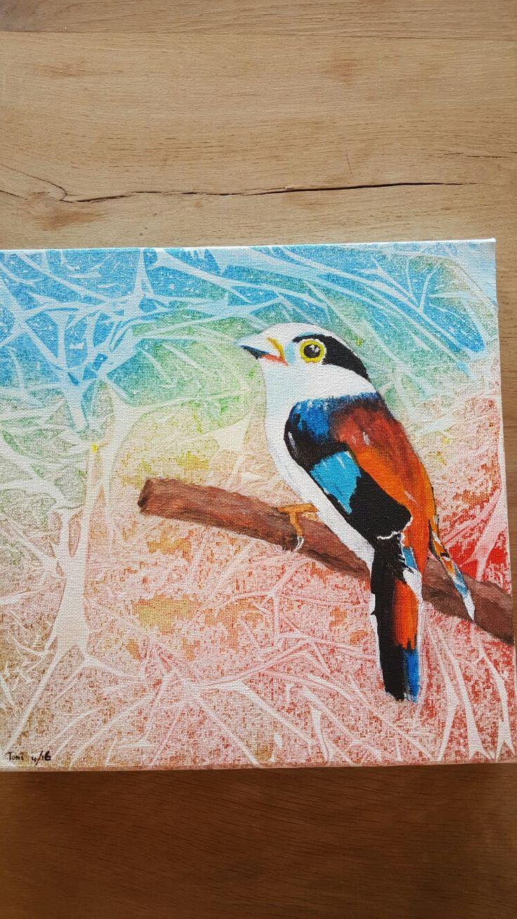 Paradijsvogel 2 acrylverf